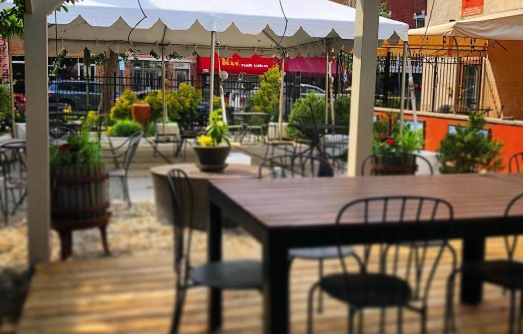 The outdoor seating area at Le Virtu in South Philadelphia